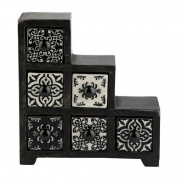 Curios 6 Drawer Black Wood Apothecary Chest