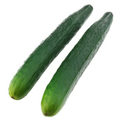 Gresorth 2 Pcs Soft PU Material Artificial Lifelike Green Cucumber Fake Vegetable Decoration