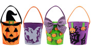 KI Store Halloween Buckets for Trick or Treat Goodie Bags All Hallows Eve Felt Gift Baskets Set of 4