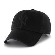 New York Yankees 47 Brand Black on Black Clean Up Adjustable Unstructured Hat / Cap