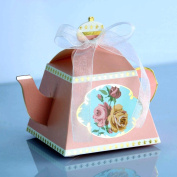IGBBLOVE 50PCS Teapot Candy Box Candy Wedding Favour Boxes Baby shower favour Party Box -Pink , 50 PACK