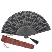 """OMyTea """"Sexy Lace"""" 8.66""""(22cm) Women Hand Held Folding Fans with Bamboo Frame - With a Fabric Sleeve for Protection for Gifts - Chinese / Japanese Vintage Retro Style"""