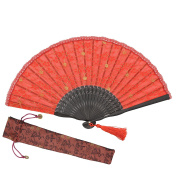 "OMyTea ""Sexy Lace"" 8.66""(22cm) Women Hand Held Folding Fans with Bamboo Frame - With a Fabric Sleeve for Protection for Gifts - Chinese / Japanese Vintage Retro Style"