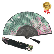 OMyTea Women Hand Held Silk Folding Fan with Bamboo Frame - With a Fabric Sleeve for Protection for Gifts - Sakura Cherry Blossom Pattern