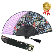 """OMyTea """"Sakura"""" Folding Hand Held Fan for Women - Chinese / Japanese Vintage Retro Style - With a Fabric Sleeve for Protection"""