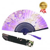 """OMyTea """"Sakura Wind"""" Folding Hand Held Silk Fans for Women - With a Fabric Sleeve for Protection for Gifts - Chinese / Japanese Vintage Retro Style"""