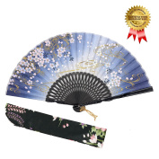 "OMyTea ""Sakura Wind"" Folding Hand Held Silk Fans for Women - With a Fabric Sleeve for Protection for Gifts - Chinese / Japanese Vintage Retro Style"