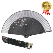 """OMyTea """"Sakura-Long-Legs"""" 8.27""""(21cm) Folding Hand Held Fan - With a Fabric Sleeve for Protection for Gifts - Chinese / Japanese Vintage Retro Style"""