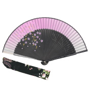 "OMyTea ""Sakura-Long-Legs"" 8.27""(21cm) Folding Hand Held Fan - With a Fabric Sleeve for Protection for Gifts - Chinese / Japanese Vintage Retro Style"