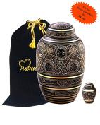 Radiance Cremation Urn With Free Keepsake - Black & Gold Urn - Radiance Urn - Adult Funeral Urn Handcrafted - Affordable Urn for Ashes