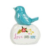 Bird On Stone Love Lives Here Earthenware Figurine