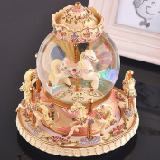 LOHOME Rotate Music Box, Luxury Carousel Crystal Ball Glass Ball Doll Miniature Dollhouse Toy with Castle in the Sky Tune Perfect for Christmas Gift Birthday Gift Valentine's Day