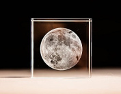3D Moon Paperweight(Laser Etched) in Crystal Glass Cube Birthday / Christmas Gifts(No included LED base)