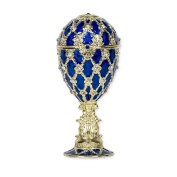 Blue Jewellery Egg in Faberge Style Plays Blue Danube