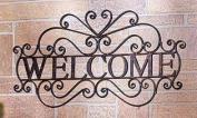 Welcome Wall Door Plaque Sign Decorative Metal Ornate Bronzed Colouring Entryway Indoor/outdoor