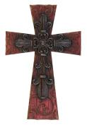 35cm Decorative Rich Red Fleur De Lis Wall Cross