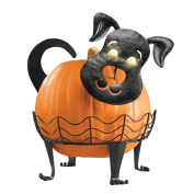 Dog Pumpkin Holder with Light-up Eyes