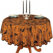 Halloween Spiders and Bats Lace Table Linens, Round