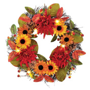 Lighted Colourful Sunflower And Mum Wreath