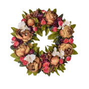 36cm Flower Wreath Handmade Artificial Floral Silk Wreath for Front Door Home Wall Wedding Decoration