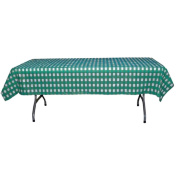 Teal and White Gingham Plastic Disposable Table Cover