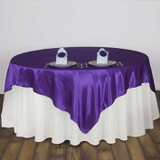 Efavormart 230cm SATIN Square Table Overlay For Wedding Catering Party Table Decorations PURPLE