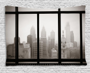 House Decor Tapestry by Ambesonne, Philadelphia City Rooftop View Through Window Skyline Landmark Rooftop Travel, Bedroom Living Room Dorm Wall Hanging, 60 W X 40 L Inches, Sepia Colour