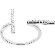 Angelique Silver CZ 18kt White Gold over Sterling Silver Double-Bar Open Ring