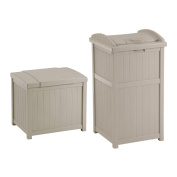 Suncast 83.3l Resin Deck Box, Light Taupe w/ 83.3l Trash Can Hideaway