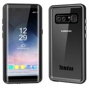 Temdan for Samsung Galaxy Note 8 Waterproof Case with Kickstand and Floating Strap IP68 Waterproof Shockproof Protective Clear Case with Built in Screen Protector for Galaxy Note 8
