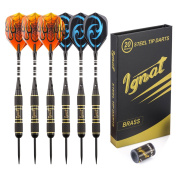 Ignat Games Professional Darts Set - Steel Tip Darts with Aluminium Shafts and Different Style Flights + Darts Sharpener + Case, 20g Brass Darts