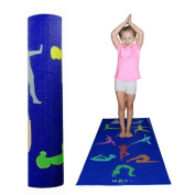 MOGA Kids Yoga Mat 1.3cm Thick Play Pad With Poses For Exercise And Fitness- For Boys And Girls Multipurpose- Non Slip