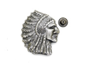 CRAFTMEmore 28x34mm Antique Silver Indian Tribal Chief Head Rapid Rivet Stud Conchos Gaur Rodeo Cowboy Leathercraft Embellishment Pack of 2