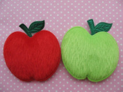 YYCRAFT Pack Of 50 Large 5.1cm Furry Red/Green Padded Felt Apple Appliques