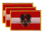 PACK of 3 Austria Eagle Flag Patches 8.9cm x 5.7cm , Austrian Eagle Embroidered Iron On or Sew On Flag Patch Emblem