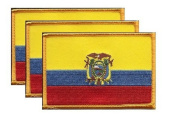 PACK of 3 Ecuador Flag Patches 8.9cm x 5.7cm , Ecuadorian Embroidered Iron On or Sew On Flag Patch Emblem