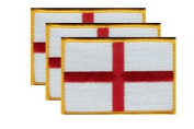 PACK of 3 England Cross Flag Patches 8.9cm x 5.7cm , English Cross Embroidered Iron On or Sew On Flag Patch Emblem
