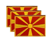 PACK of 3 Macedonia Flag Patches 8.9cm x 5.7cm , Macedonian Embroidered Iron On or Sew On Flag Patch Emblem