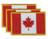 PACK of 3 Canada Flag Patches 8.9cm x 5.7cm , Canadian Embroidered Iron On or Sew On Flag Patch Emblem
