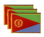 PACK of 3 Eritrea Flag Patches 8.9cm x 5.7cm , Eritrean Embroidered Iron On or Sew On Flag Patch Emblem