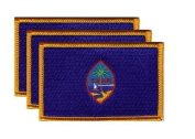 PACK of 3 Guam Flag Patches 8.9cm x 5.7cm ,Guamanian Embroidered Iron On or Sew On Flag Patch Emblem