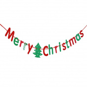 Faylapa Merry Christmas Banners Bunting Flag for Christmas Party Xmas Tree Decoration