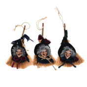 Halloween Hanging Props Witch on Broomstick for Halloween Decorations