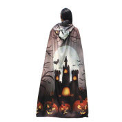 Voberry® 1PC Novelty Pumpkin Print Hooded Cloak Coat Wicca Robe Mediaeval Cape Shawl Halloween Party