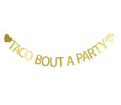 Betalala Large Gold Taco Bout A Party Letters Banner Garland Bunting Sign Party Decoration Photo Props