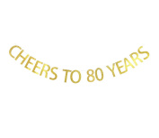 Betalala Large Gold Cheers to 80 Years Letters Banner Garland Bunting Sign Party Decoration Photo Props
