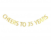 Betalala Large Gold Cheers to 35 Years Letters Banner Garland Bunting Sign Party Decoration Photo Props