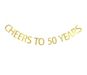 Betalala Large Gold Cheers to 50 Years Letters Banner Garland Bunting Sign Party Decoration Photo Props