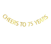 Betalala Large Gold Cheers to 75 Years Letters Banner Garland Bunting Sign Party Decoration Photo Props