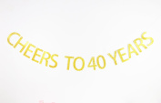 Betalala Large Gold Cheers to 40 Years Letters Banner Garland Bunting Sign Party Decoration Photo Props